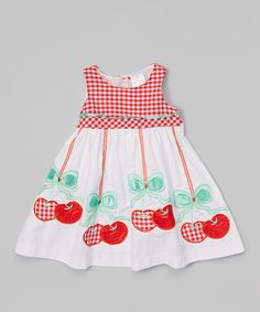 Look at this White & Red Cherry Babydoll Dress - Toddler & Girls on #zulily today!