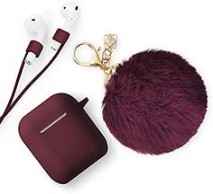 Xmifer AirPods Case, Cute Airpods Case Keychain Drop Proof (Silicone Skin and Cover for AirPods Charging Case with Fluffy Fur Ball Keychain and Airpods Anti-Lost Strap for Airpods Cute Cases, Cute Phone Cases, Iphone Cases, Apple Watch Accessories, Iphone Accessories, Accessoires Ipad, Airpods Apple, Cute Keychain, Earphone Case