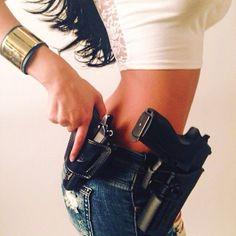 Yea or Nae with guns gun with guns gun holster happy armed woman goddess shooter # concealed carry purse pouch holster training guns for women for girl auto pistol shooting guns Hot Girls, Military Women, Idf Women, Dangerous Woman, Airsoft Guns, Badass Women, Guns And Ammo, Firearms, Shotguns