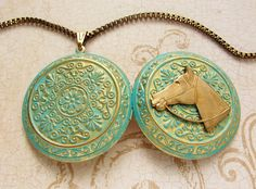 Horse equestrian Locket Necklace Turquoise green by soradesigns