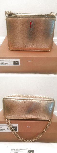 NIB Christian Louboutin Triloubi Small Triple-Gusset Spiked Bag in Gold $725.0
