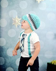 NEW Baby Boy tie Bodysuit with Suspenders and Visor Crocheted Hat - Holiday, Winter, Photo Prop