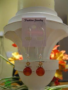 Carnelian Stone Earrings on Large Kidney Wire $12.00