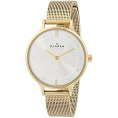 Skagen Women's SKW2150 Anita Quartz 3 Hand Stainless Steel Gold Watch ($119) ❤ liked on Polyvore featuring jewelry, watches, gold wristwatches, stainless steel wrist watch, gold watches, yellow gold jewelry and glitter jewelry