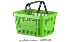 3D rendering of a green shopping basket. 3d llustration, 3D render, isolated on white background