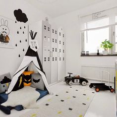 skyscraper / buildings as cupboards the boo and the boy: black and white kids' rooms