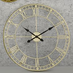 Large Vintage Wall Clock Metal Oversized Round Antique Gold Home Kitchen Decor Big Wall Clocks, Living Room Clocks, Kitchen Wall Clocks, Kitchen Decor, Skeleton Wall Clock, Wire Pendant Light, Oversized Clocks, Home Clock, Barker And Stonehouse