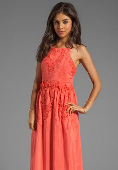 DOLCE VITA Rayan Petticoat Embroidery Maxi Dress in Melon at Revolve Clothing - Free Shipping!