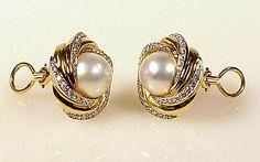 Pearl Earrings, Ear Jewelry, Jewellery, Jewel Box, Round Cut Diamond, Clip On Earrings, 18k Gold, Gemstone Rings, Pearls