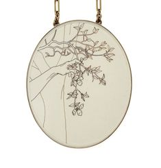 Melanie Bilenker. Necklace: Dogwood, 2017. Hair, paper, gold, silver, crystal, gold on bronze chain.. 8 x 7 x 7 cm (Length chain 50 cm).