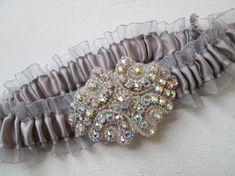 Silver Prom Garter Silver Gray Wedding Garter Bling Garters