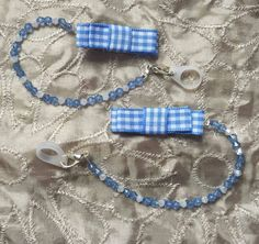 Cochlear implant / hearing aid / BAHA, retaining cord- Blue and White Gingham…