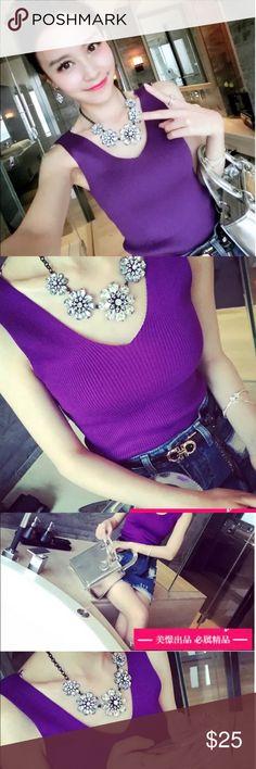 Purple v neck sweater sleeveless top Purple v neck sweater sleeveless top Tops