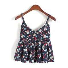 Navy Spaghetti Strap Florals Pleated Cami Top (65 SEK) ❤ liked on Polyvore featuring tops