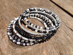 Layered Beaded Wrap Memory Wire Bangle by KimberlysCraftini, $25.00