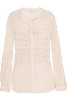 Temperley London|Lace-trimmed silk blouse|NET-A-PORTER.COM