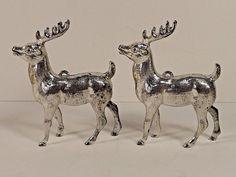 Silver Reindeer Christmas Decoration Santa Claus Sleigh Vintage Mantle Table
