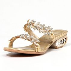 5db469a65a351 Carol Shoes Faux Rhinestone Womens Mid Heel Open Toe Sandal Slippers (7.5)  Carol Shoes