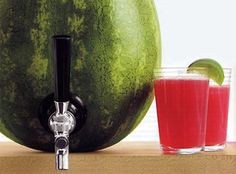 Turns a hollowed watermelon into a drink dispenser!! How fun!