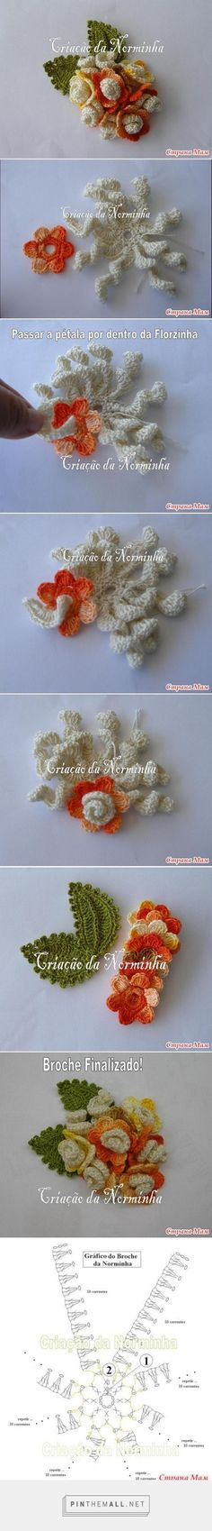 - a grouped images picture - Pin Them All Crochet Leaves, Crochet Motifs, Knitted Flowers, Freeform Crochet, Crochet Art, Thread Crochet, Irish Crochet, Crochet Crafts, Crochet Doilies