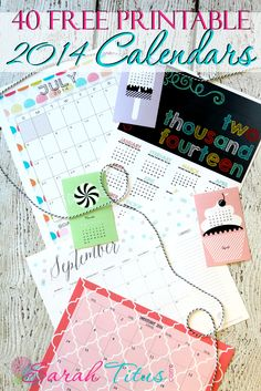 40 Free Printable 2014 Calendars #freeprintablecalendar #free2014calendar