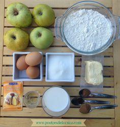 Ingredientes bizcocho de manzana fácil. Apple cake ingredients.