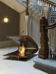 amazing fireplace --- of interest. Kind of odd location.