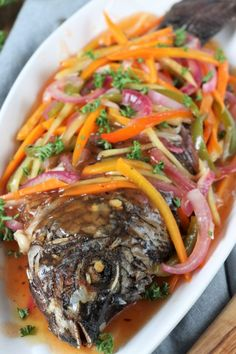 Filipino Sweet & Sour Fish Make this colorful, tangy-sweet Filipino Escabeche or Sweet and Sour Fish and bring your plain fried fish to the next level of goodness. Fish Recipes, Seafood Recipes, Asian Recipes, Cooking Recipes, Healthy Recipes, Ethnic Recipes, Vegetarian Recipes, Dinner Recipes, Fish Escabeche