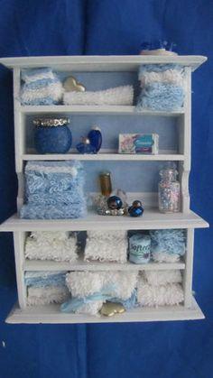 Dollhouse Miniature Blue Bathroom Cabinet Filled | eBay
