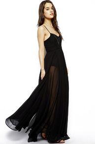 maxi robe plissée à bretelles