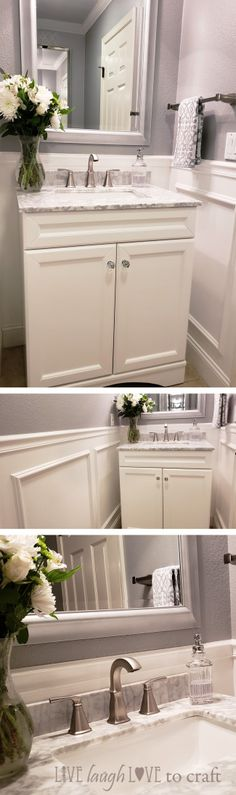 Gray & white marble vanity powder room makeover with wainscot wall.
