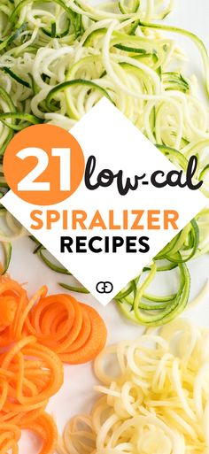 Veggie spiralizer recipes 21 creative low-calories spiralizer recipes that will give you some great healthy recipes ideas! Check out these delicious, healthy recipes using zucchini noodles, sweet potato noodles, butternut squash noodles and more. Spiralized Butternut Squash, Butternut Squash Noodle, Squash Noodles, Veggie Noodles, Zucchini Noodles, Zucchini Spiralizer, Vegetable Spiralizer, Healthy Noodle Recipes, Zoodle Recipes
