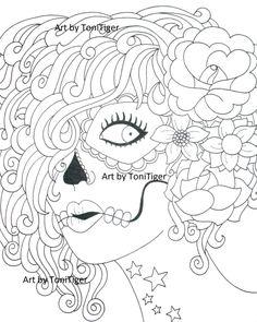 Instant Digital Download Coloring Page Sugar Skull Girl, Original Day of the Dead Art, Dia De Los Muertos, Downloadable Adult Coloring Page