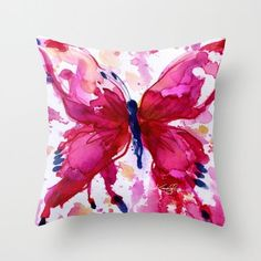 Butterfly Pillow - Pink Watercolor art from Original abstract painting Butterfly Joy No. 7 by Kathy Morton Stanion EBSQ Butterfly Pillow - Pink Watercolor art from Original abstract painting Pink Watercolor, Abstract Watercolor, Abstract Art, Fabric Painting, Fabric Art, Painting Art, Diy Pillows, Decorative Pillows, Cushions