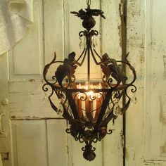 French farmhouse chandelier large rusty by AnitaSperoDesign