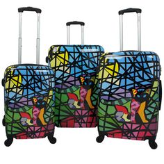 Chariot Cat Stained Glass Art 3-piece Hardside Lightweight Upright Spinner Luggage Set