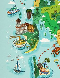 Phuket detail from a map of Southern Thailand by Chinapat Yeukprasert