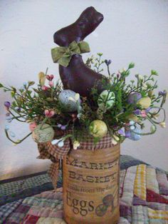 Chocolate Easter Bunny Arrangement by CountryImpressions on Etsy