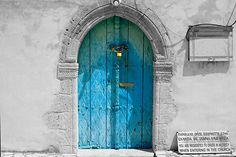 Love these colors!  A door in Cyprus.    Sign:  You are requested to dress in modesty when entering in the church.