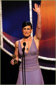 Idina Menzel accepting her Tony Award for Best Actress in a Musical in 2004. In my mind, she and Cheno will forever be tied for Best Award Acceptance Speech of All Time. Frankly, there should be a Tony just for that.