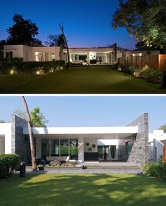 15 Single Story Modern Houses | The minimalist design of this single story house features lots of windows to make it easy to always feel connected to the outdoors.