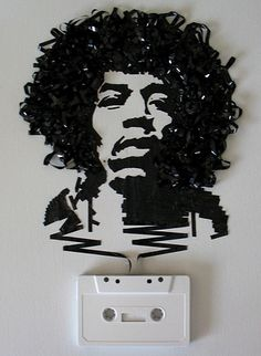 Artist iri5 creates portraits using unwound cassette tape.