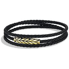 David Yurman Chevron Triple-Wrap Bracelet in Black Leather and Gold (65.130 RUB) ❤ liked on Polyvore featuring men's fashion, men's jewelry, men's bracelets, mens gold bracelets, mens leather bracelets, mens yellow gold bracelets, mens magnetic bracelets and mens leather braided bracelets