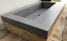 Polished concrete sink basin deep vanity industrial modern for sale made by Concrete Tuesdays.