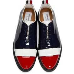 THOM BROWNE Tricolor Patent Leather Bow Oxfords ($1,200) ❤ liked on Polyvore featuring shoes, oxfords, lace up oxfords, color block shoes, colorful shoes, patent oxfords and bow shoes