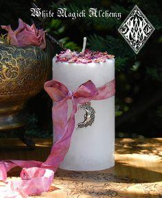 White Magick Alchemy - La Luna Alchemy Pillar Candles for Moon Magick, $13.95 (http://www.whitemagickalchemy.com/la-luna-alchemy-pillar-candles-for-moon-magick/)