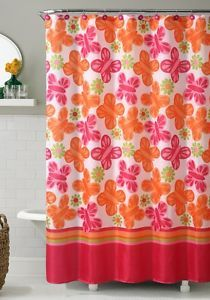 "Orange and Pink Printed Fabric Shower Curtain Butterfly and Flowers 72"" x 72"" 
