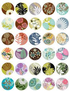1.5 Inch Circle Pendant Artwork-Flowers-Leaves von CollageStudio45