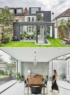 A modern rear extension with a curved window creates space for a small courtyard and protects the original bay window. Dark Blue Kitchen Cabinets, Dark Blue Kitchens, Frameless Window, Rear Extension, Extension Ideas, British Architecture, Small Courtyards, House Extensions, Create Space