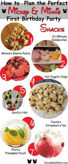 Great ideas for snacks for a Mickey Mouse Birthday Party